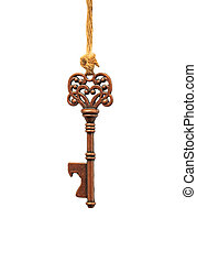 key hanging on a rope over white background