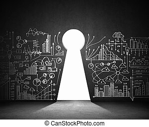 Business plan sketch on black wall with key hole