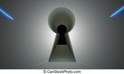 Key hole, lines and blinking fingerprint, computer generated abstract background, 3D rendering backdrop