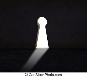 key hole wall with light use for abstract of solution crisis...