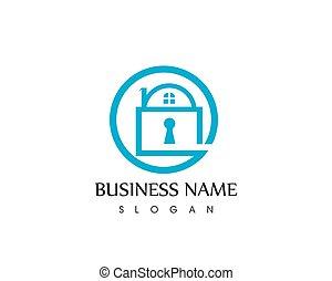 Key house icon logo template vector