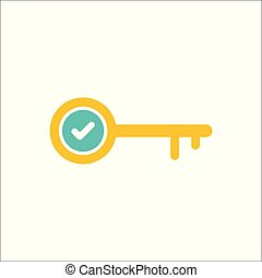 Key icon, Access, lock, locked, security icon with check sign. Key icon and approved, confirm, done, tick, completed symbol