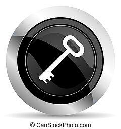 key icon, black chrome button, secure symbol