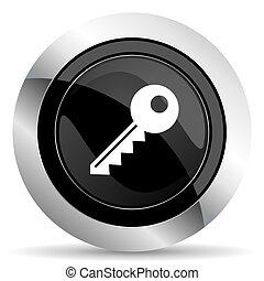key icon, black chrome button
