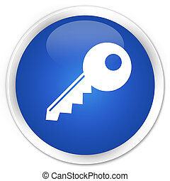Key icon blue glossy round button
