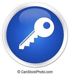 Key icon blue glossy round button