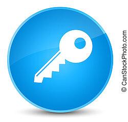 Key icon elegant cyan blue round button