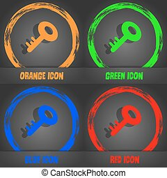 Key icon. Fashionable modern style. In the orange, green, blue, red design. Vector