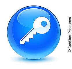 Key icon glassy cyan blue round button
