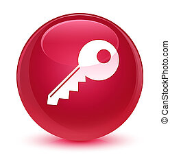 Key icon glassy pink round button