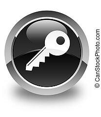 Key icon glossy black round button