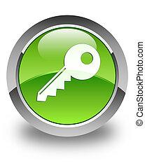 Key icon glossy green round button