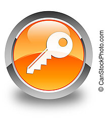 Key icon glossy orange round button