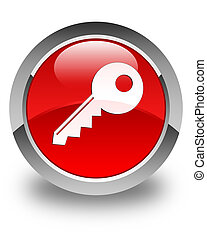 Key icon glossy red round button