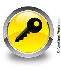 Key icon glossy yellow round button