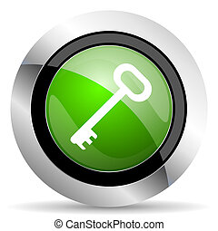 key icon, green button, secure symbol