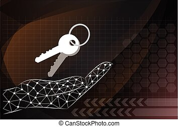 key icon holding by hand on the background technologies.