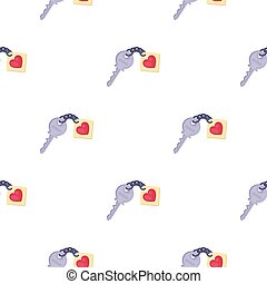 Key icon in cartoon style isolated on white background. Romantic pattern stock vector illustration.