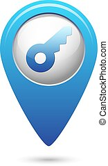Key icon on blue map pointer