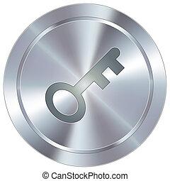 Key icon on industrial button - Skeleton key or password ...