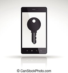 key icon on mobile phone isolated on white