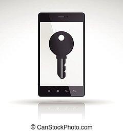 key icon on mobile phone isolated on white