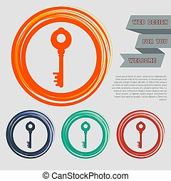 Key Icon on the red, blue, green, orange buttons for your website and design with space text. Vector