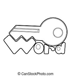 Key icon, outline style