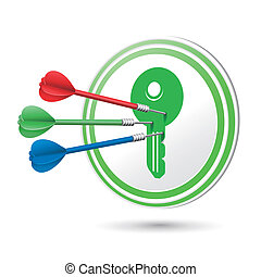 key icon target with darts hitting on it over white