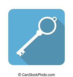key icon with long shadow vector illustration