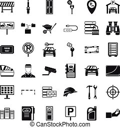 Key icons set, simple style