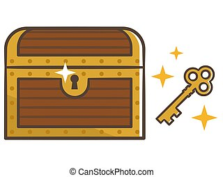 key., ilustración, pecho de madera, chest., cerrado, tesoro