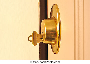 Key in a Dead Bolt Lock - Dead Bolt (Deadbolt) Lock with a...