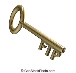 key in gold with FTP text (3d)
