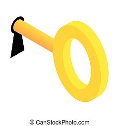 Key in keyhole isometric 3d icon