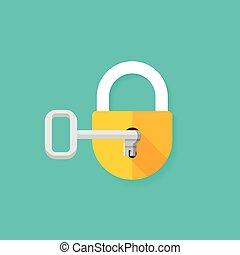 Key in keyhole opening closed padlock vector illustration -...