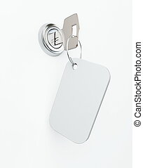 key in the keyhole on a white background