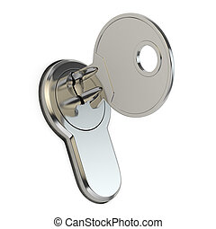 Key in the lock on white isolated background.
