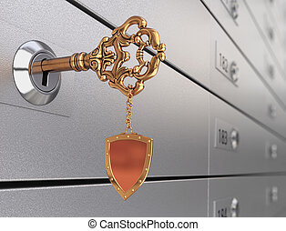 Key in the safe deposit box - Key with trinket in form of...