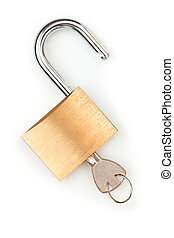 Key in unlocked padlock on white background
