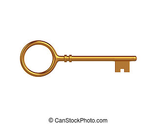 Key Isolated on White Background, 3D rendering