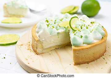 Key lime cheese tart with whipping cream on top - key lime ...