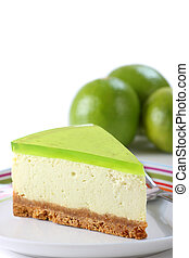 Key lime pie topped with jelly/jello - Tempting key lime pie