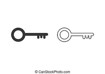 Key line icon set symbol vector on white background editable