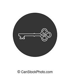 Key line icon symbol vector on white background editable