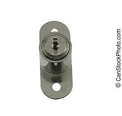 key-lock, 上に, a, 白い背景