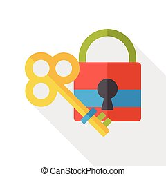 key lock flat icon