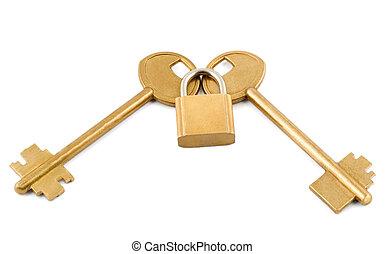 key lock - gold keys lock isolated on white background.