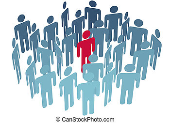 Key man center figure in group company people - A key person...