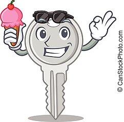 Key mascot cartoon design with ice cream